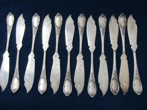 SCHUMACHER GERMANY 800 SILVER SET 12 BUTTER / DESSERT KNIVES  TOOLED ACCENTS