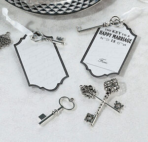 24 Silver Key Tag Set For Guest Signing Wedding Memories Advice Tags