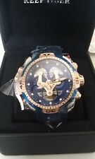 Reef Tiger Men Automatic Stainless Steel Watch With Blue And Rose Gold Dial F/S