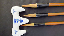 3 CHINESE M 2S WOLF WRITING CALLIGRAPHY PAINTING BRUSH JAPANESE CRAFT S STAND