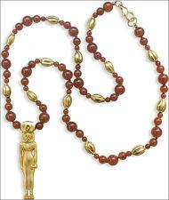 "Egyptian Jewelry Lioness Goddess Sekhmet Pendant on 24"" Carnelian Bead Necklace"
