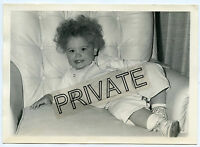 Vintage Photo - 5x7 - Cute Baby With Big Hair - Smiling & Bright Eyes