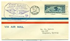 1927 CAM FLIGHT COVER 18E8 ELKO,NV. TO CHEYENNE,WY. BY BOEING AIR TRANSPORT