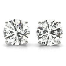 DIAMOND EARRINGS STUD D SI1 SOLITAIRE 1.40 CARAT ROUND 14K WHITE GOLD PUSH BACK