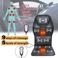 Black Back Massage Chair Car SUV Heat Seat /Cushion Neck Pain Lumbar Support Pad