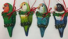 Parrot Christmas Ornament Lovebird Peach-Faced Sea-Green Dutch Blue Blue-Masked