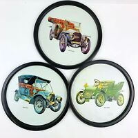 Vintage Barware Bar Trays Metal Antique Car Pictures Set of 3 11 in Mid Century