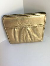 Coach Soho Mini Wallet Gold Leather Pleated F42810 MSRP $98 W12