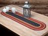 "LIBERTY STARS Oval Jute Table Runner Americana Primitive Indigo Red Tan 13""x 48"""