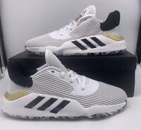 Adidas Pro Bounce 2019 Low Basketball Shoes White Black Gold EF0472 Sz