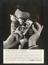 1959 Vintage Print Ad BELL HOWELL Glasses Man Holds 16mm Movie Camera Image