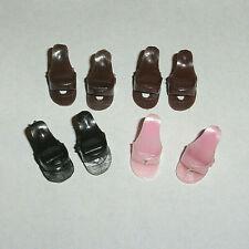4 Pair Vintage #1 Barbie Mules: 2 Brown Pair, 1 Black Pair, 1 Pink Pair No Poms