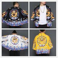 Men Japanese Yukata Coat Kimono Outwear Retro Baggy Tops Chinese Dragon Ethnic