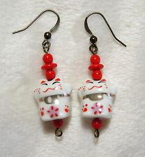Handmade Pierced Earrings Maneki Neko Lucky Cat & Red Glass Beads