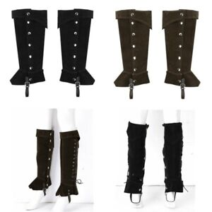 1 Pairs Mens Boots Frosted Leather Knee High Retro Shoes Covers Pirate Cosplay