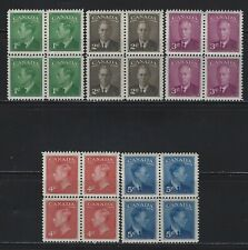 CANADA - #284-#288 - KING GEORGE VI POSTES-POSTAGE BLOCKS OF 4 SET MNH