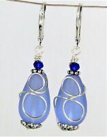 SEA GLASS Teardrop Cobalt Blue Loop Swirl Silver LEVERBACK Earrings USA HANDMADE