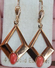GEM QUALITY GORGEOUS 14K GOLD FILLED 47MM ITALY SALMON CORAL DANGLE EARRINGS