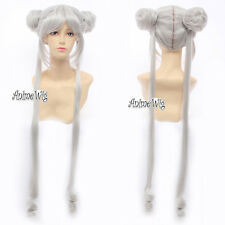 100cm Princess Usagi Tsukino Sailor Moon Silver White Cosplay Wig + 2 Ponytails