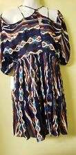 Free People Blue / brown Printed Dress Size XS