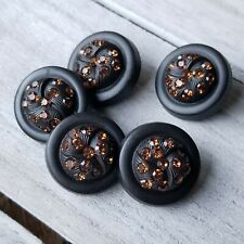 Vtg LOT Matching 5 HI-DOME Black EARLY PLASTIC Shank Buttons ORANGE RHINESTONES