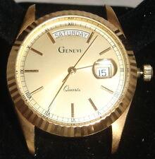 Men's 14K Solid GOLD Geneve Quartz Watch