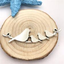 2pcs Jewellery Making Bird Connector Charms Pendant Tibetan Silver 66x17mm