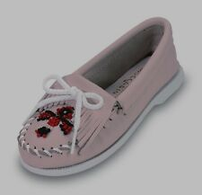 Pink Leather Minnetonka Moccasins with Beads  Girls Size 1