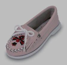 Pink Leather Minnetonka Moccasins with Beads  Girls Size 1