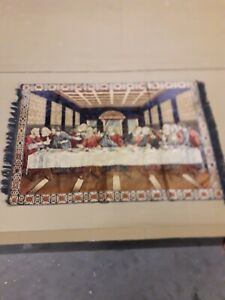 Vintage tapestry Catholic Christian faith Jesus last supper