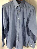 IZOD Men Button Shirt Size 15 1/2 (32/33) Blue White Plaid Long Sleeve Slim Fit