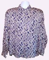 Anne Klein women's button blouse padded shoulders silk vintage sz 14 long sleeve