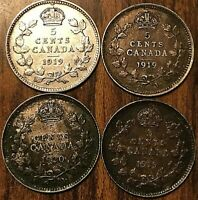 LOT OF 4 CANADA SILVER 5 CENTS - Good quality coins between F-VF+