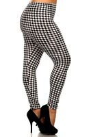 HOUNDSTOOTH BLACK WHITE leggings pants POLYESTER S M L XL 1X 2X 3X On size