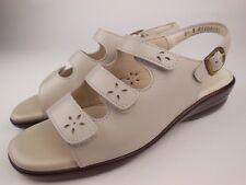 SAS Quatro Pearl Bone Leather Strappy Slingback Sandals Sz 8.5 N