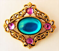 Vtg 1928 teal blue pink cabochon brooch pin