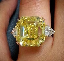 Canary Yellow Diamond 4 Ct VVS1 Engagement & Wedding Ring 925 Sterling Silver
