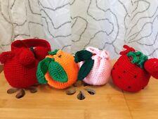 Handmade Crochet Fruit Peach Strawberry Orange cross body bag handbag wrist bag
