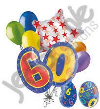 8 pc 60th Birthday Theme Balloon Bouquet Party Decoration Number Primary Color
