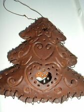 CHRISTMAS TREE ORNAMENT  RUST METAL & WIRE