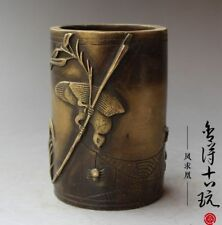 Chinese Old antique handmade Brass Bamboo Pen container Brush Pot RN