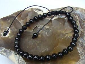 Men's BLACK Macrame Beaded Bracelet NATURAL Gemstone OBSIDIAN beads Gift for him