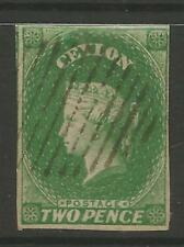 STAMPS-CEYLON. 1857. 2d Yellowish Green. 4 Margins Close at Right. SG: 3a. FU.