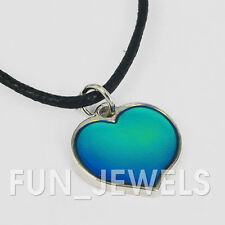 New Pretty Heart Mood Necklace Multi Color Changing Adjustable Cord Retro