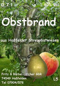 OBSTBRAND 2x 0,7l   40 %   Obstler Literpreis 19 Euro