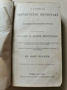 Walkers Dictionary A Critical Pronouncing Dictionary HB Book Antique 1840