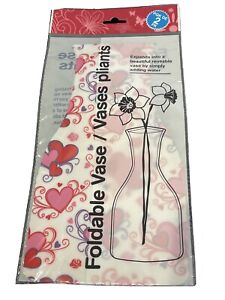 Folding Vase – 2 Pack White Vase w/Red, Pink & Purple Heart Design