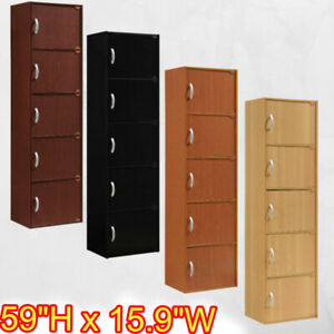 5 Door Storage Cabinet Shelf Organizer Bookcase Pantry Cupboard Wood Closet NEW
