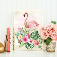 Flamingo Print Wall Art Summer Tropical Inspirational Quote Hawaiian Picture