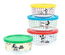Pyrex Disney Mickey Mouse 8-Piece Set Glass Food Storage with Lids Retro Set New